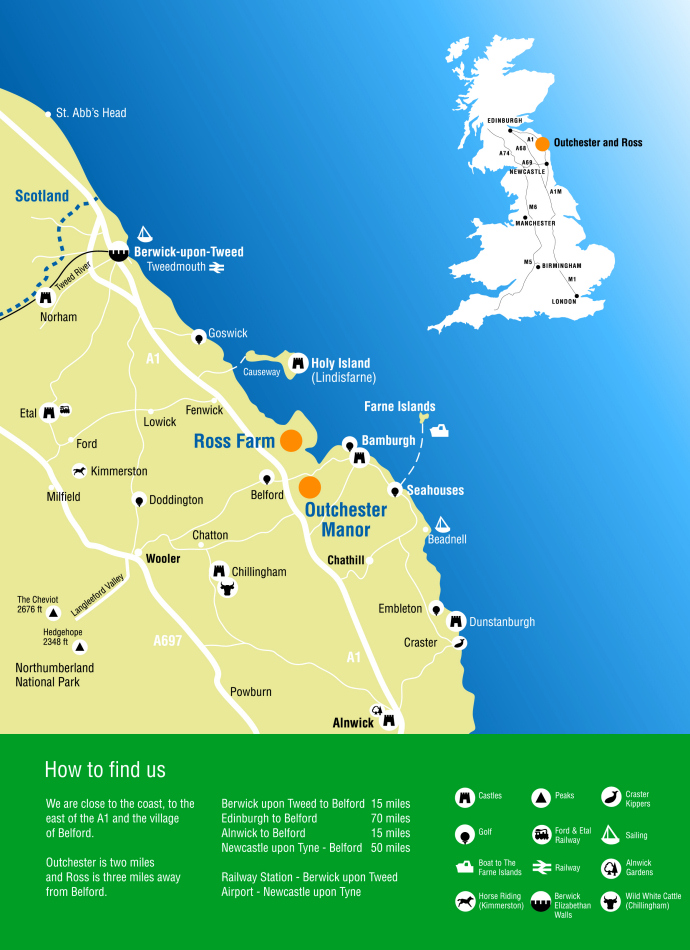 Northumberland Coast Map Outchester & Ross Farm Cottages, Northumberland | Northumberland